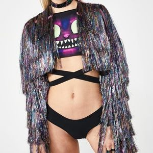 Dolls Kill CLUB EXX sparkly tinsel cropped jacket